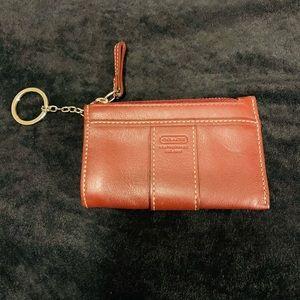 Coach Leather Burgundy Coin Card Holder